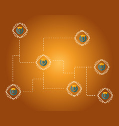 Blockchain komodo symbol background style vector