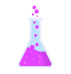 boiling pink flask icon flat style vector image