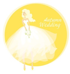 bride wedding dress concept fall yellow vector image