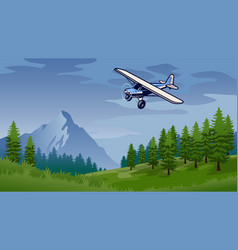 Bush plane flying in nature vector