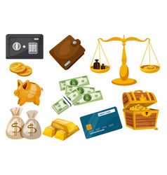 business money deposit dollar gold icons vector image