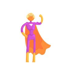 Cartoon character of elderly superhero in classic vector
