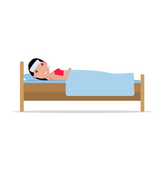 Cartoon ill sick woman lying bed with flu vector