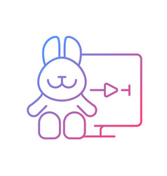 Cartoons streaming gradient linear icon vector
