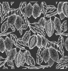 Cocoa seamless pattern chocolate cocoa beans vector