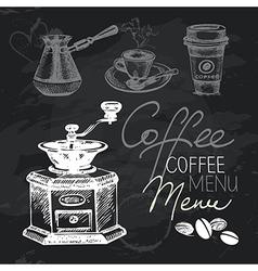 Coffee hand drawn chalkboard design set vector image