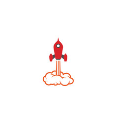 creative red rocket cloud logo vector image