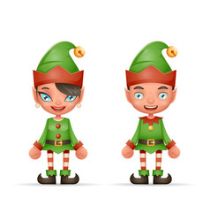Cute cartoon elf boy and girl characters christmas vector