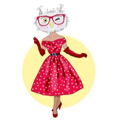 Cute owl hipster girl furry art fashion animals vector
