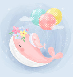 Cute pink whale motherhood vector