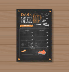 Dark beer menu design for restaurant cafe pub vector
