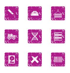 Development of gene icons set grunge style vector