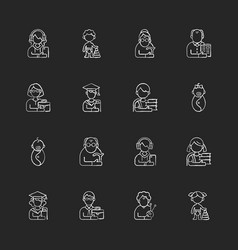 Different age and gender groups chalk white icons vector
