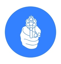 Directed gun icon in black style isolated on white vector image