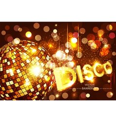 Disco background with golden disco ball vector