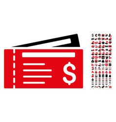 Dollar cheques icon with 90 bonus pictograms vector