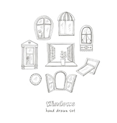 Doodle windows set isolated vector