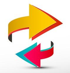 Double Arrows Set - Paper 3D Logo - Logotype vector