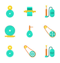Engine maintenance icons set cartoon style vector