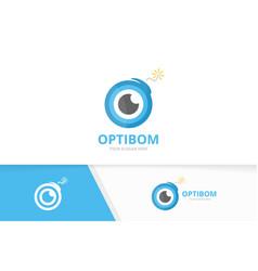 eye and bomb logo combination optic and vector image
