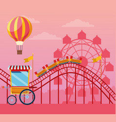 Fair festival with fun attractions scenery vector