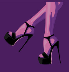 Fashion of slim female legs in black vector