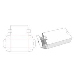 Folded packaging box with 2 locks die cut template vector