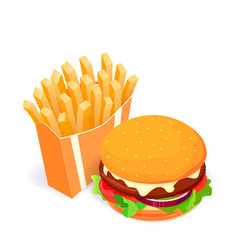 french fries and burger isometric vector image