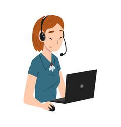 Girl call center operator online customer support vector