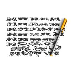 glasses doodle set vector image