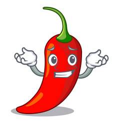 grinning character red chili pepper for seasoning vector image