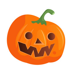 halloween doodle pumpkin face on white background vector image