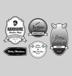 handsome barber shop label badges vector image