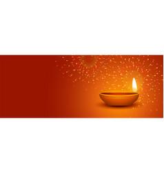 Happy diwali festival of light fireworks banner vector