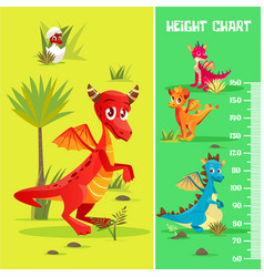Height chart wall meter baby dinosaurs vector