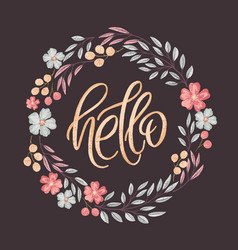 hello lettering in floral frame vector image