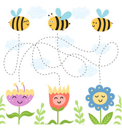 Help bees find path to flowers maze game vector
