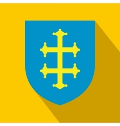heraldic cross france on a shield icon vector image
