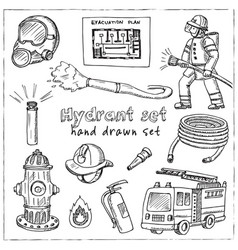 hydrant hand drawn doodle setisolated elements on vector image