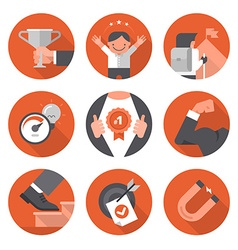 Icons of Motivation and Setting Goals vector