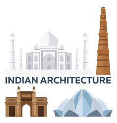 indian architecture modern flat design taj mahal vector image