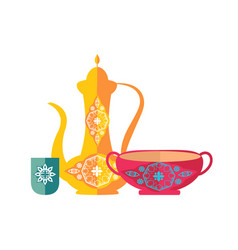 Islamic dishware decorative pitcher vintage style vector