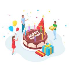 Isometric happy birthday party people celebration vector