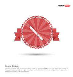 Katana sword icon - red ribbon banner vector