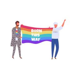 Lgbtq activists carrying rainbow flag with born vector