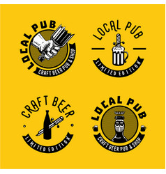 Local pub and brewery sign collection retro style vector