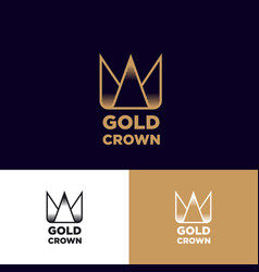Logo gold crown contour flat linear icon identity vector