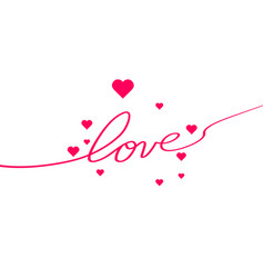 love with hearts in continuous drawing lines in a vector image