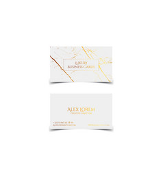 luxury white business card with marble texture and vector image