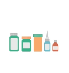 medicine bottles on white background vector image